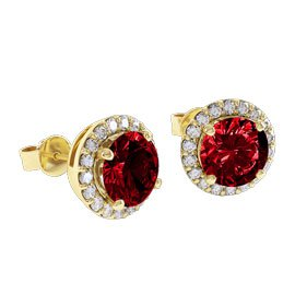 Eternity 2ct Ruby Halo 9ct Yellow Gold Stud Earrings