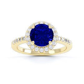 Eternity 1ct Sapphire Halo 18ct Gold Vermeil Promise Ring