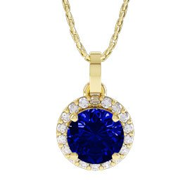 Eternity 1ct Sapphire 18ct Yellow Gold Halo Pendant