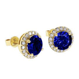 Eternity 2ct Sapphire Halo 9ct Yellow Gold Stud Earrings