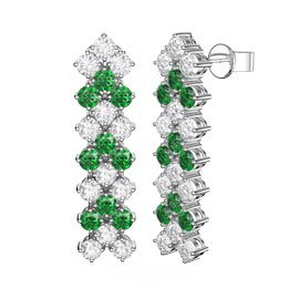 Eternity Three Row Emerald and Diamond CZ Silver Drop Earrings
