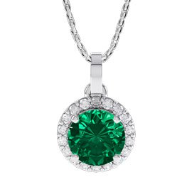 Eternity 1ct Emerald 18ct White Gold Halo Pendant