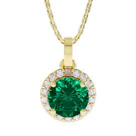 Eternity 1ct Emerald 18ct Gold Halo Pendant
