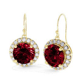Eternity 2ct Ruby Halo 9ct Yellow Gold Drop Earrings