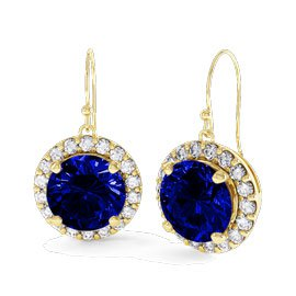 Eternity 2ct Sapphire Halo 9ct Yellow Gold Drop Earrings