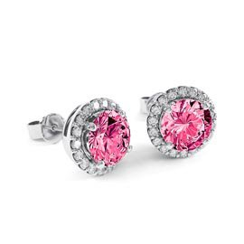 Halo 2ct Pink Sapphire Platinum plated Halo Stud Earrings