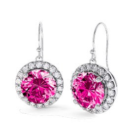 Halo 2ct Pink Sapphire Platinum plated Silver Drop Earrings