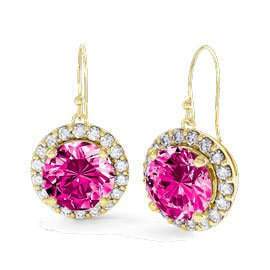 Halo 2ct Pink Sapphire and Diamond 18ct Yellow Gold Drop Earrings