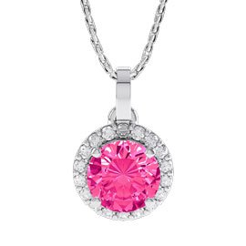 Halo 1ct Pink Sapphire Platinum Finished Silver Pendant