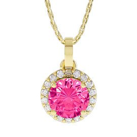 Halo 1ct Pink Sapphire Halo 18ct Yellow Gold Pendant
