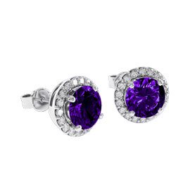 Halo 2ct Amethyst Platinum plated Silver Stud Earrings
