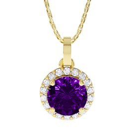 Halo 1ct Amethyst 18ct Gold Vermeil Halo Pendant