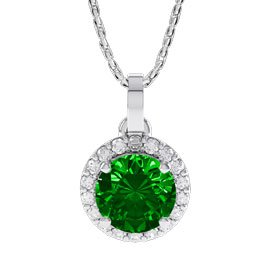 Halo 1ct Chrome Diopside Halo 18ct White Gold Pendant