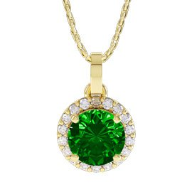 Halo 1ct Chrome Diopside Halo 18ct Yellow Gold Pendant