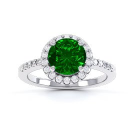 Halo 1ct Chrome Diopside Platinum plated Halo Silver Promise Ring