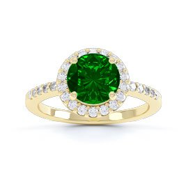 Halo 1ct Chrome Diopside 18ct Gold Vermeil Halo Promise Ring
