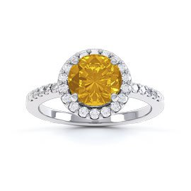 Halo 1ct Citrine Platinum plated Halo Silver Promise Ring