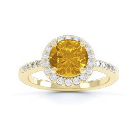 Halo 1ct Citrine Halo 18ct Gold Vermeil Promise Ring