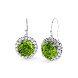Halo 2ct Peridot Halo Drop Platinum plated Silver Earrings