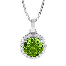 1ct Peridot and Diamond Halo 18ct White Gold Pendant