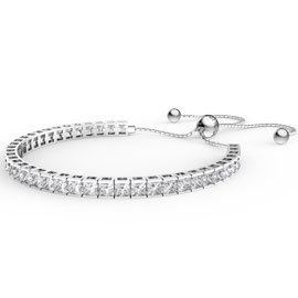 Princess Diamond CZ Rhodium plated Silver Fiji Friendship Tennis Bracelet