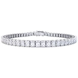 Princess White Sapphire Platinum plated Silver Tennis Bracelet