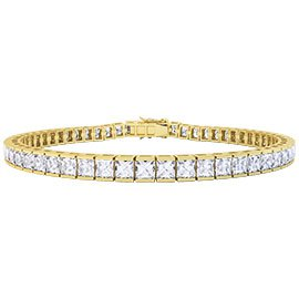 Princess CZ Diamond 18ct Gold plated Silver Tennis Bracelet