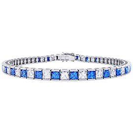 Princess Blue and White Sapphire Platinum plated Silver Tennis Bracelet