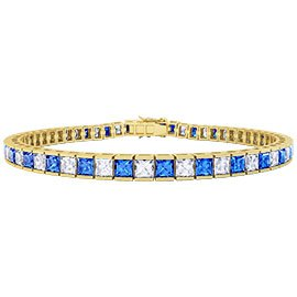 Princess Blue and White Sapphire 18ct Gold Vermeil Tennis Bracelet