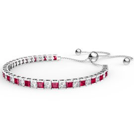 Princess Ruby CZ Rhodium plated Silver Fiji Friendship Tennis Bracelet