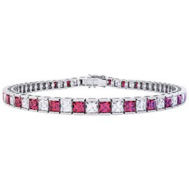 Princess Ruby and White Sapphire Platinum plated Silver Tennis Bracelet