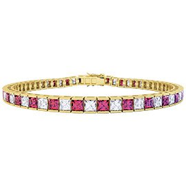 Princess Ruby and White Sapphire 18ct Gold Vermeil Tennis Bracelet