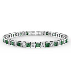 Princess Emerald CZ Rhodium plated Silver Tennis Bracelet