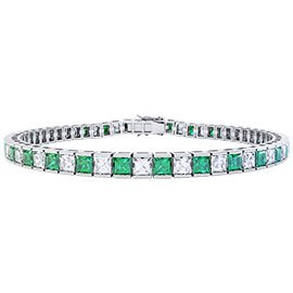 Princess Emerald and Diamond 3.9ct GH SI 18ct White Gold Tennis Bracelet