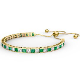 Princess Emerald CZ 18ct Gold plated Silver Fiji Friendship Tennis Bracelet