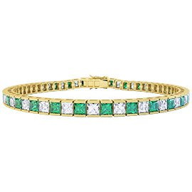 Princess Emerald and White Sapphire 18ct Gold Vermeil Tennis Bracelet