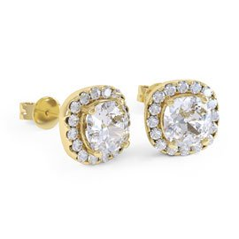 Princess 2ct White Sapphire Halo 18ct Gold Vermeil Stud Earrings