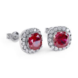 Princess 2ct Ruby Halo Platinum plated Silver Stud Earrings