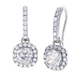 Princess 2ct White Sapphire Halo 18ct White Gold Pave Drop Earrings