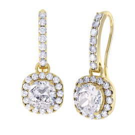 Princess 2ct White Sapphire Halo 18ct Yellow Gold Pave Drop Earrings