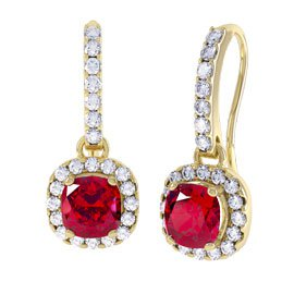 Princess 2ct Ruby Halo 18ct Yellow Gold Pave Drop Earrings