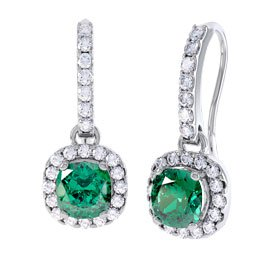 Princess 2ct Emerald Halo Platinum plated Silver Pave Drop Earrings