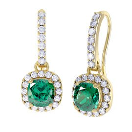 Princess 2ct Emerald Halo 18ct Yellow Gold Pave Drop Earrings