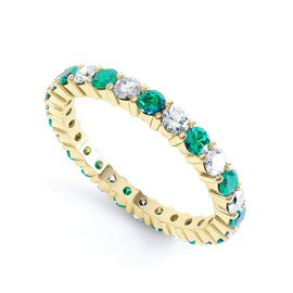 Promise Emerald 18ct Gold Vermeil Full Eternity Ring 2.5mm Band