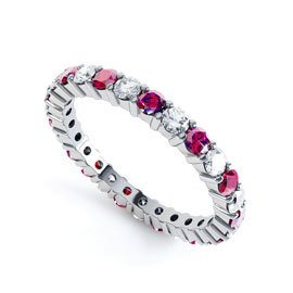Promise Ruby Platinum plated Silver Full Eternity Ring 2.5mm Band