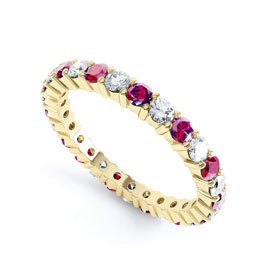 Promise Ruby 18ct Yellow Gold Full Eternity Ring 2.5mm Band