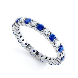 Promise Sapphire Platinum plated Silver Full Eternity Ring 2.5mm Band