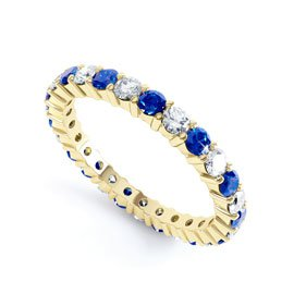 Promise Sapphire 18ct Yellow Gold Full Eternity Ring 2.5mm Band