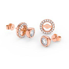 Infinity White Sapphire 18ct Rose Gold Vermeil Stud Earrings Halo Jacket Set