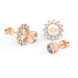 Infinity White Sapphire 18ct Rose Gold Vermeil Stud Starburst Earrings Halo Jacket Set